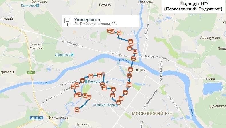 карта как едит автобус 71